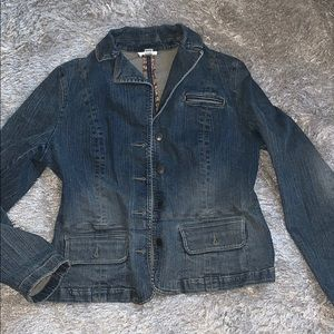 LOFT Denim Jean Jacket Blazer Wms 12 Button Front